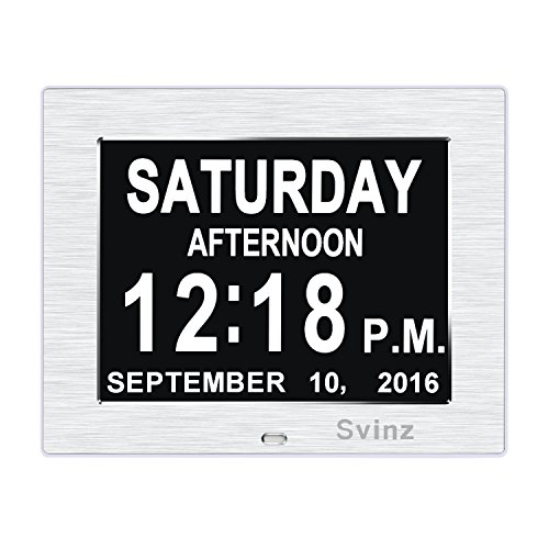 NEW Dual Alarm Clock - SVINZ Day Clock Digital Calendar - Extra Large Non-Abbreviated Day & Month - Excellent for Impaired Vision - Brushed Silver - SDC006 (Digital Clock With Date compare prices)