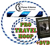 Adult Weighted Hula Hoop (White/Blue) Large Travel Hula Hoops For Dance, Fitness & Exercise + Hooping DVD!