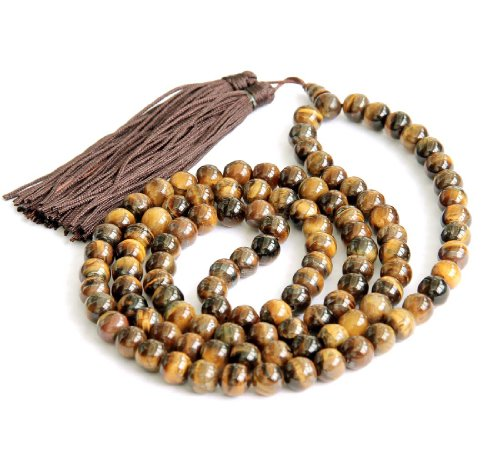 8mm Tiger Eye Gem Beads Rosary Prayer Meditation 108 Japa Mala Necklace