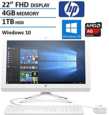 HP 22 Inch FHD IPS All-in-One Desktop Computer (AMD Quad Core A6-7310 2.0GHz, 4GB RAM, 1TB HDD, USB 3.0, HDMI, Webcam, Wifi, DVDRW, Bluetooth, Windows 10) (Certified Refurbished)