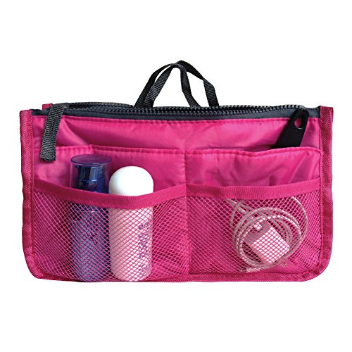 10. Handbag Pouch Bag in Bag Insert Organizer Tidy Travel Organizer Pocket Cosmetic Bag for Women Girls(Rose)