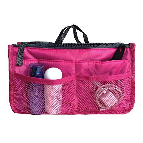 10. Handbag Pouch Bag in Bag Insert Organizer Tidy Travel Organizer Pocket Cosmetic Bag for Women Girls(Rose)