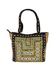 Jaipur Textile Hub Golden Color Cotton & Leather Shoulder Bag - (34 Cm * 32 Cm * 9 Cm)