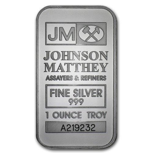 純銀 1オンス 31.1g ジョンソン・マッセイ社 インゴット JOHNSON MATTHEY Silver 高純度 .999 銀地金 シルバー バー インゴット ID番号付 クリアーケース付き