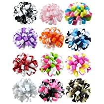 HipGirl Boutique Girls 12pc 2.5 Loopy Ribbon Puff Hair Bow Clips/Barrettes Combo--In Gift Box.
