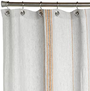 Coyuchi Rustic Linen Shower Curtain Pewter With Tangerine Mid Gr