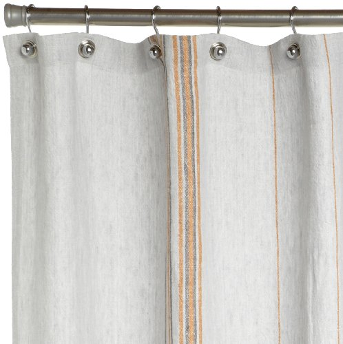 Coyuchi Rustic Linen Shower Curtain Pewter With Tangerine Mid Gray
