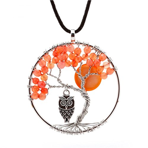 Natural Topaz Handmade Tree Pendant Necklace - The mangrove Owl And Moon