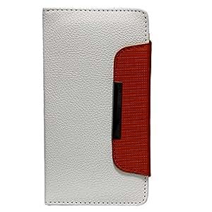 Jo Jo Z Series Magnetic High Quality Universal Phone Flip Case Cover Stand For Mitashi Play Thunderbolt White Orange