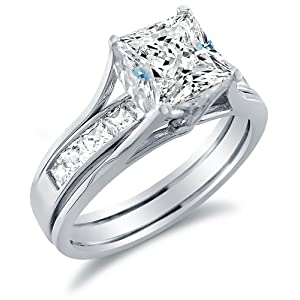 Solid 14k White Gold Bridal Set Princess Cut Solitaire Engagement Ring ...