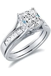 Solid 14k White Gold Bridal Set Princess Cut Solitaire Engagement Ring with Matching Channel Set Wedding Band Highest Quality CZ Cubic Zirconia 2.0ct.