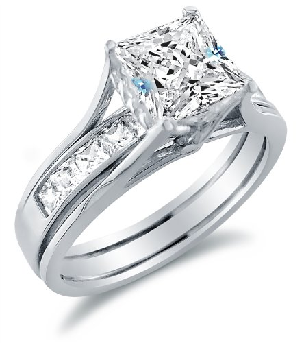 Size 7 - Solid 14k White Gold Bridal Set Princess Cut Solitaire Engagement Ring with Matching Channel Set Wedding Band Highest Quality CZ Cubic Zirconia 2.0ct.