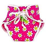 De la nadada Kushies bolsa de pañales, margarita de impresión de color blanco y fucsia, talla grande