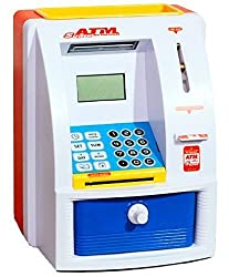 Catterpillar ATM Machine Piggy Bank with Personal ATM Card & LCD Display for Kids (Orange & White )