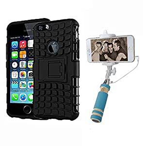 Aart Hard Dual Tough Military Grade Defender Series Bumper back case with Flip Kick Stand for Iphone 6Gplus + Aux Wired Mini Pocket Selfie Stick by Aart store.