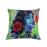 Contemporary Kitsch Art Retro Bollywood Inspired Dream Girl Design Cushion Covers (18x18 Inches).