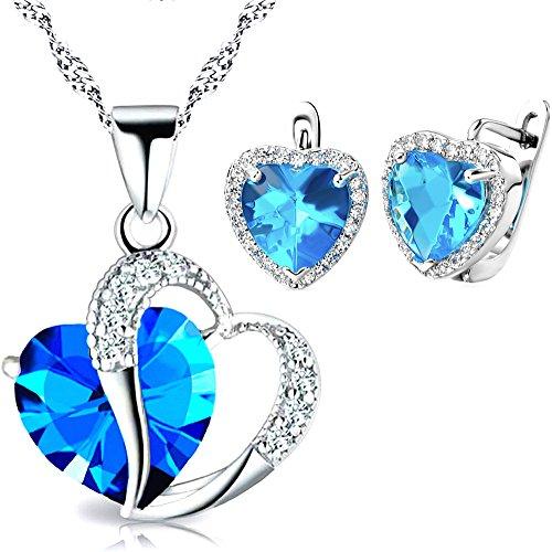 Kim-Johanson-Damen-Schmuckset-Annabel-aus-925-Sterling-Silber-Halskette-mit-Anhnger-und-Ohrringe-Herz-Trkis-mit-Zirkonia-Steinchen-besetzt-inkl-Geschenkverpackung