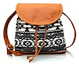 Lychee Bags Women Emma Sling Bag (Lb14Azb, Black Brown, Canvas)