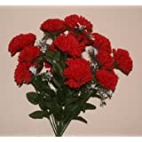18 head RED carnation artificial flower bush wedding/grave/vase