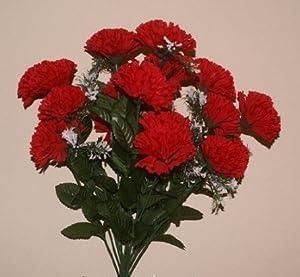 18 head RED carnation artificial flower bush wedding/grave/vase