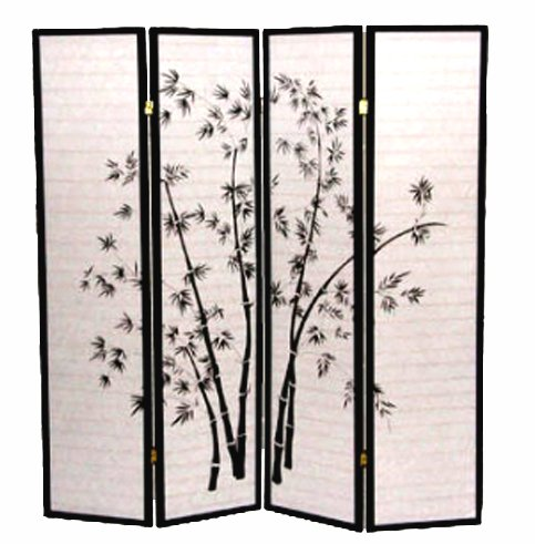 Best Buy! 4 Panel Black Bamboo Print Oriental Shoji Screen / Room Divider