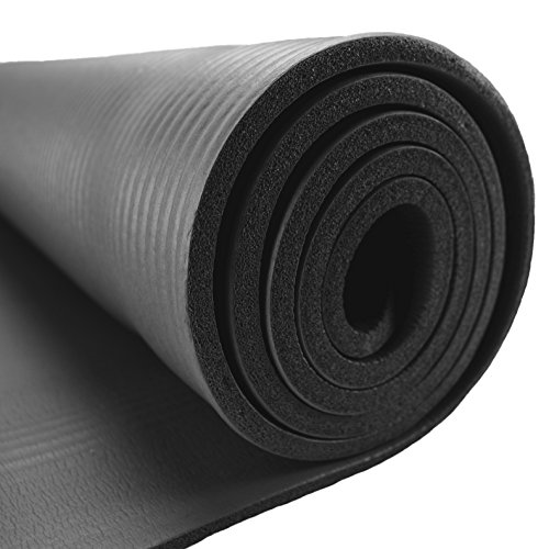 Crown Sporting Goods 3/8-inch (8mm) Professional Yoga Mat with No-Slip Ridges and Travel Shoulder Sling (Black)