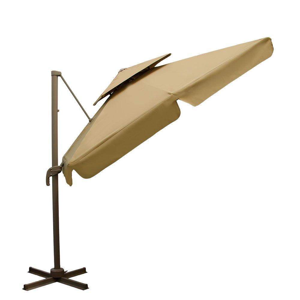 XXL Ampelschirm 250x250cm rechteckig | Aluminium-Gestell inkl. Plattenständer mit Fußpedal | 360° Grad drehbarer verstellbarer Sonnenschirm Garten-Schirm mit doppelter Kappe | imprägniert | Sandfarbe Beige