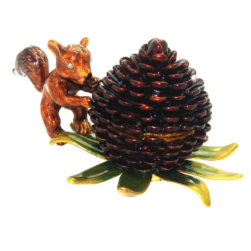 "Objet D'Art Release #369 ""Pinecone Pals"" Pinecone with Squirrel Handmade Jeweled Enameled Metal Trinket Box"