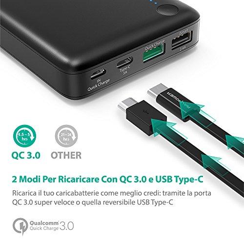 Il primo caricatore portatile qc3 0 type c ravpower for Tablet samsung con porta usb