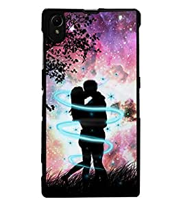 ColourCraft Loving Couple Design Back Case Cover for SONY XPERIA Z1