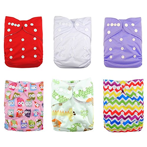 LOVE MY(TM) Baby Washable Reusable Cloth Diapers,breathable, Adjustable Snap, 6pcs Pack Pocket Cloth Diaper with 2 Inserts Each , 6 Pcs + 12 Inserts (Girl Color) - 1