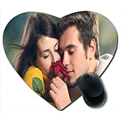 Awwsme Two Couple Smelling Rose Heart Mousepad