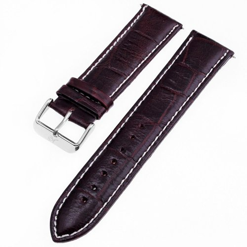 KS Official 22mm Brown Genuine Leather Watch Band/Strap Watchbands WTL027