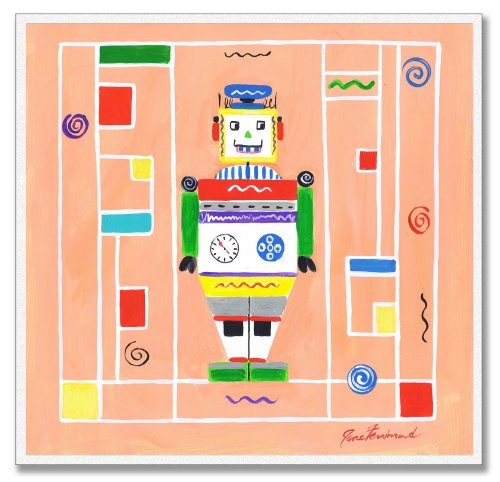 The Kids Room by Stupell Robot on Orange Background Square Wall Plaque