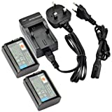 DSTE® 2pcs NP-FW50 Rechargeable Li-ion Battery + Charger DC107U for Sony Alpha 7, a7, Alpha 7R, a7R, Alpha a3000, NEX-3, NEX-3N, NEX-5, NEX-5N, NEX-5R, NEX-5T, NEX-6, NEX-7, NEX-C3, NEX-F3, SLT-A33, SLT-A35, SLT-A37, SLT-A55V, Cyber-shot DSC-RX10 Digital