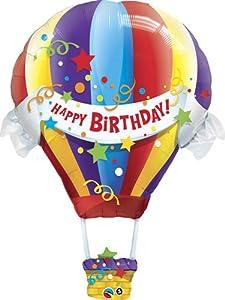 "Single Source Party Supplies - 42"" Birthday Hot Air Balloon Shape Mylar Foil Balloon"