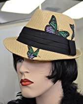 Natural Butterfly Print Banded Fashion Fedora Hat