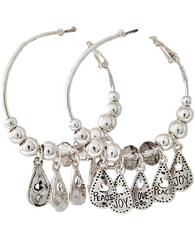 Antique Silver Tone Metal and CC Beads Black Diamond Glass Crystal Accents Medium Hoops Message Charm Clip Back Earrings