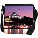 Suleymaniye Camii Mosque on River Side Night view in Turkey Small Denim Shoulder Bag / Handbag