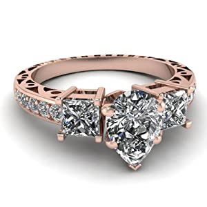 1.50 Ct Pear Shaped Diamond Engagement Ring Channel Set SI2 D-Color GIA 14K