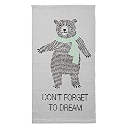 Bloomingville Cotton Rug with Big Bear, Cool Grey