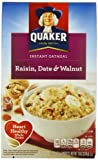 Quaker Instant Oatmeal Raisin, Date & Walnut, 10-Count Boxes (Pack of 4)