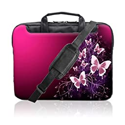 TaylorHe 15.6 inch 15 inch 16 inch Hard Wearing Nylon Laptop Carry Case Colourful Laptop Shoulder Bag with Patterns, Side Pockets Handles and Detachable Strap Pink Butterflies