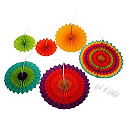 Imported 6pcs Home Garland Decor Hollowed Pinwheel Flower Tissue Paper Fan Flower