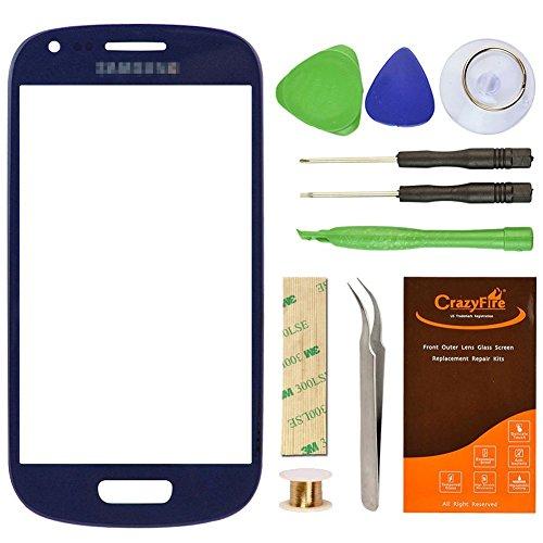CrazyFire® - Vetro di sostituzione dello schermo anteriore con kit di riparazione per Samsung Galaxy S3 Mini I8190 con nastro adesivo e set di utensili, colore: blu
