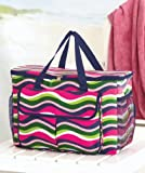 Oversized Cooler Tote - Multicolor Wave - Insulated Beverage Bag