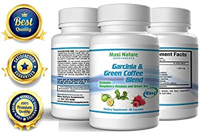 Garcinia Cambogia with Green Coffee Bean , Raspberry Ketone and Green Tea - ALL in 1 Potent Formula Slim Fast - Reduces Calorie Absorption and Melting Belly Fat - Fat Burner Dr Oz Recommended Best Sellers - Weight Loss Appetite Suppressant Supplement All
