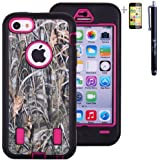 Heavy Duty Real Tree Mossy Oak HD Camo Defender Soft + Hard Case Cover for Apple iPhone 5c + Stylus + Screen Protector - Hot Pink