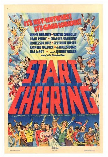 movie poster for Start Cheering, starring Jimmy Durante and the Three Stooges