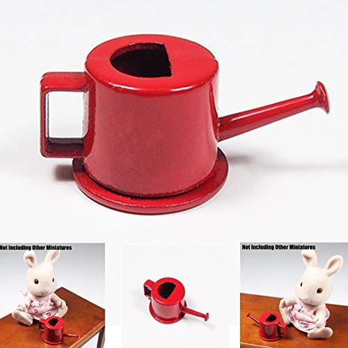 1:12 Garden Watering Can Metal Red Garden Tools Outdoor Miniatury Doll House Toy